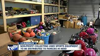 Non-profit distributing used sports equipment to families in need - Video