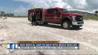 Firefighters using pickup truck to get to beach emergencies - Video