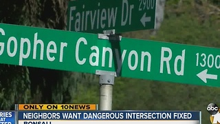 Residents call Gopher Canyon Road-Fairview Drive intersection 'dangerous,' want county to fix it - Video