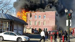 Fire Destroys Several Buildings Near Albany - Video