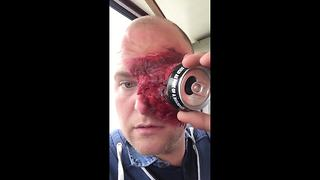 Essex man struggles to remove Halloween costume from his face - Video
