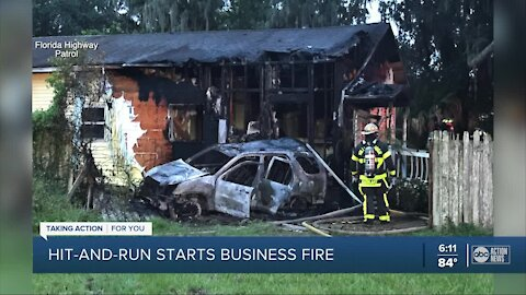 Car crashes into Riverview business causing fire to both, FHP searching for driver