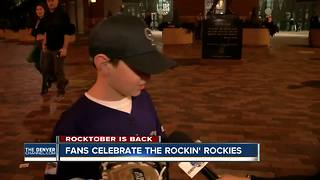 Fans celebrate the rockin' Rockies