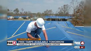 Free surplus tarps to be distributed to hurricane victims tomorrow - Video