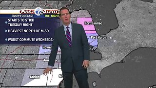 Clouds today, snow by Tuesday night