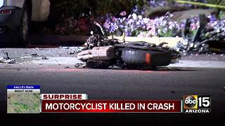 Motorcyclist killed in crash in Surprise - Video