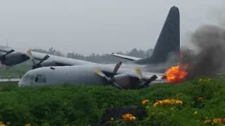 Plane catches fire after landing