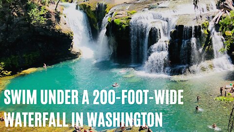 Washington Has A Jungle Oasis With A 200-ft-WIDE Waterfall That You Can Swim In