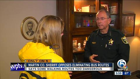 Martin County Sheriff William Snyder opposes eliminaing bus routes