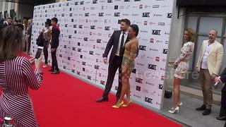 Host Mel B poses on the red carpet at the 2018 British LGBT Awards