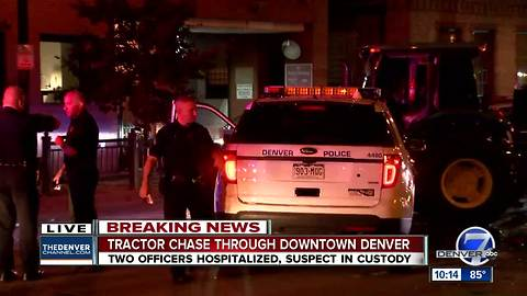 John Deere tractor leads police on a chase through downtown Denver