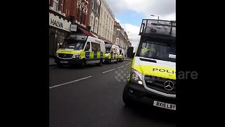 Heavy police presence outside Parsons Green station - Video