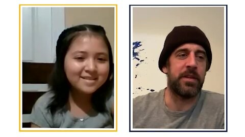 10-year-old girl with cancer interviews Aaron Rodgers