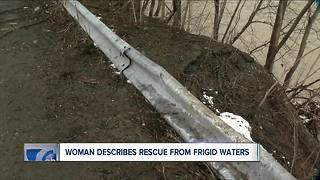 Woman describes rescue from frigid waters - Video