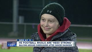 Football rivals put aside differences to support cheerleader fighting cancer - Video