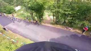 Stunt Biker Lands Jump Over Tour De France Cyclists - Video