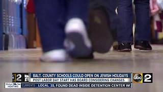 Baltimore Co. Schools  Could Open On Jewish Holidays - Video