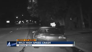 Suspect on the loose after police chase, crash in Brown Deer - Video