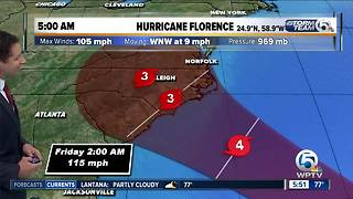 5 a.m. update: Hurricane Florence has 105 mph winds - Video