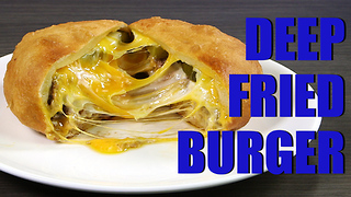 Deep fry cheddar and pickle burger - Video