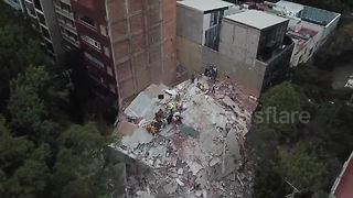 Drone footage shows collapsed building in Mexico City - Video
