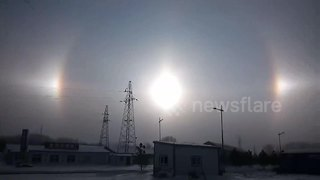 Natural phenomenon makes three suns appear in the sky above China - Video