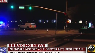 Pedestrian hit by Glendale PD motorcycle officer has possible life threatening injuries - Video