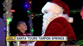Santa tours Tarpon Springs on Tarpon Springs Fire Truck