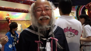 Old man dressed like a high-school girl - Video