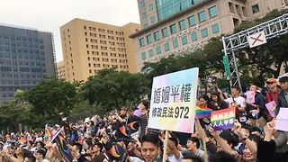 Thousands Rally in Support of Same-Sex Marriage in Taipei - Video