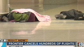 Frontier passengers stranded at McCarran Airport - Video