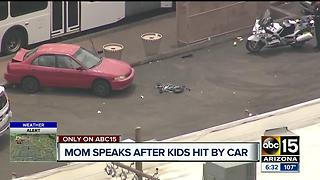 Mother says sons critically injured after car smashes through bus stop - Video