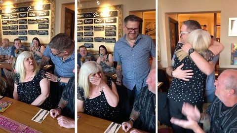 Adorable moment son flies more than 10,000 miles from Australia to England to surprise mum on her 60th birthday