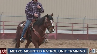 Las Vegas police hold drills for mounted unit horses - Video