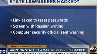 Arizona lawmakers' computer possibly hacked? - Video