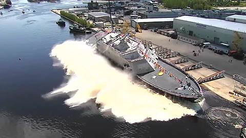 Spectacular aerial footage of U.S. Navy's LCS 15 launch