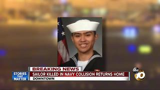 Sailor killed in Navy collision returns home - Video