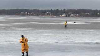 Dog Rescued From Frozen Lake in Michigan - Video