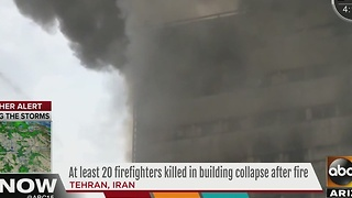 At least 20 firefighters killed in a building collapse after fire in Iran - Video