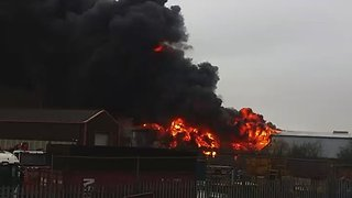 Huge Plume of Smoke Seen Above Large Blaze in Stafford - Video
