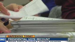 Presidential vote recount begins today in Wayne and Macomb counties - Video