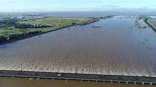 Drone Footage Shows Sacramento Weir Open - Video