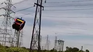 Bounce House Sails into Power Lines - Video