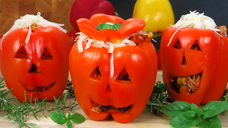 Stuffed Jack-O-Lantern Bell Peppers - Video