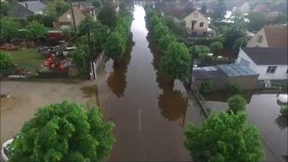 Drone Footage Shows Flood-Drenched Villages in Loiret - Video