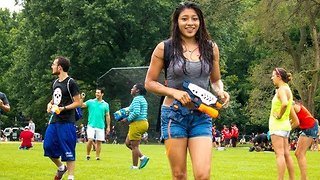 Water-Gun Fight Held in Central Park - Video
