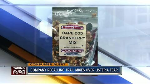 Trail mix sold online and at stores nationwide recalled due to possible Listeria