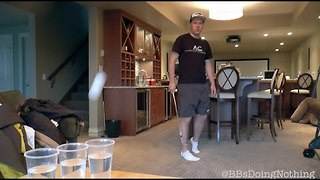 Guy Nails Beer Pong Trick Shots With Golf Club