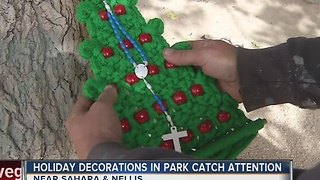 Holiday decorations in park catch attention - Video