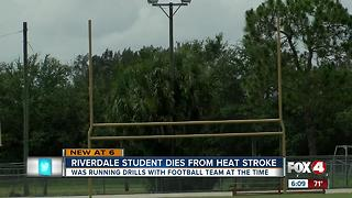 Riverdale High School student dies from heat stroke